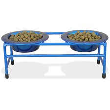 Cat Double Diner Stand with Two Wide Rimmed Bowl (8 oz.)