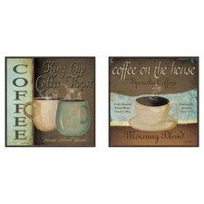 Kitchen Coffee Label 2 Piece Framed Graphic Art Set