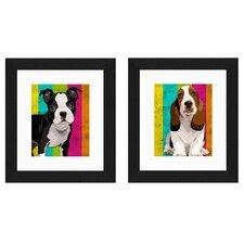 Doggy Stripes 2 Piece Framed Graphic Art Set