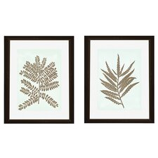 Leaves Silhoutte 2 Piece Framed Graphic Art Set
