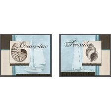 Scrapbook Shell 2 Piece Framed Graphic Art Set