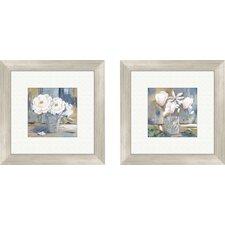 2 Piece Floral Cottage Roses Framed Painting Print Set
