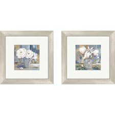 Floral Cottage Roses 2 Piece Framed Painting Print Set