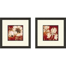 Floral Poppy 2 Piece Framed Painting Print Set
