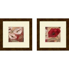 Floral Amapola Blanca 2 Piece Framed Painting Print Set