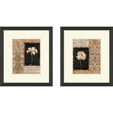 Floral Night Florescence 2 Piece Framed Graphic Art Set
