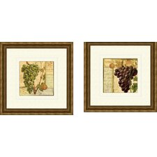 Kitchen Wine Grapes 2 Piece Framed Graphic Art Set