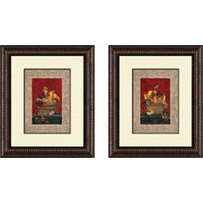 Kitchen Traditional Fruit Basket 2 Piece Framed Art Set