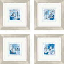 <strong>Pro Tour Memorabilia</strong> Coastal Light House and Sailboats 4 Piece Framed Painting Print Set