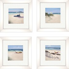 Coastal Beach Umbrella 4 Piece Framed Painting Print Set