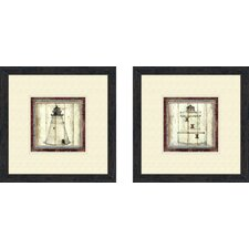 Coastal Light House 2 Piece Framed Graphic Art Set