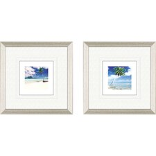 Coastal Palm Tree Beach Framed Art (Set of 2)