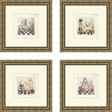 Bath Salon de Bain 4 Piece Framed Painting Print Set
