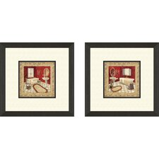 Bath Salon Rouge 2 Piece Framed Painting Print Set