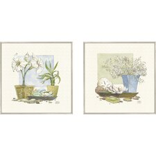 Bath Beach Spa Delight 2 Piece Framed Painting Print Set