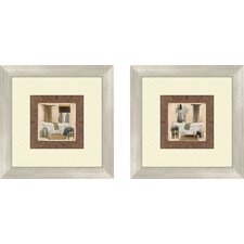 Bath Do not Disturb 2 Piece Framed Painting Print Set