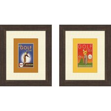 Vintage Golf 2 Piece Framed Art Set