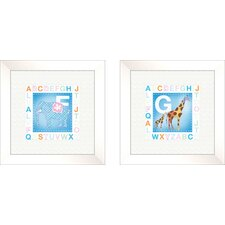 2 Piece Juvenile Animal Alphabet Framed Art Set