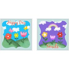 2 Piece Juvenile Happy Day Framed Art Set