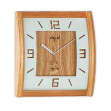 """12"""" Square Wooden Curved Case Wall Clock"""
