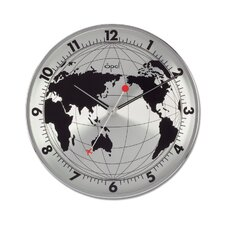 """12"""" World Map Printed Round Stainless Steel Case Wall Clock"""