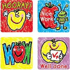 Stickers Apples Kid-drawn 120/pk