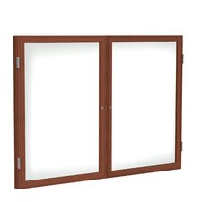 <strong>Ghent</strong> 2 Door Wood Frame Enclosed Porcelain Magnetic Whiteboard
