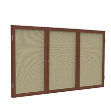 3 Door Wood Frame Enclosed Fabric Tackboard