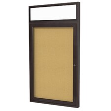 <strong>Ghent</strong> 1 Door Aluminum Frame Enclosed Natural Cork Tackboard
