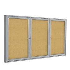 3 Door Enclosed Natural Cork Bulletin Board