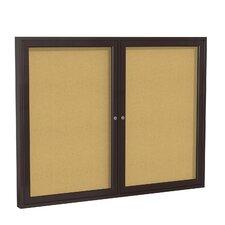 2-Door Enclosed Natural Cork Tackboard