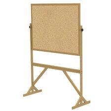 Wood Frame Reversible Natural Cork Bulletin Board
