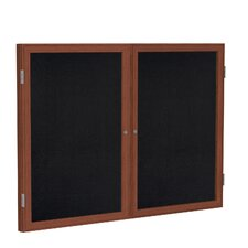 2 Door Wood Frame Enclosed Recycled Rubber Tackboard