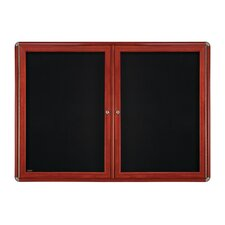 2-Door Wood Look Ovation Fabric Bulletin Board