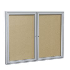 2 Door Outdoor Aluminum Frame Enclosed Vinyl Bulletin Board