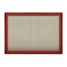 "Sliding Door Ovation Fabric Bulletin Board Wood Look with Black 34""x47"""