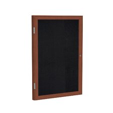 1 Door Wood Frame Enclosed Recycled Rubber Tackboard