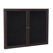 2 Door Bronze Aluminum Enclosed Rubber Bulletin Board