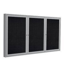 3 Door Aluminum Frame Enclosed Recycled Rubber Tackboard