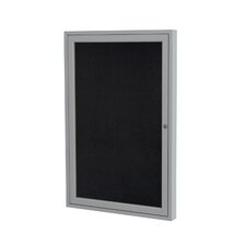 1 Door Satin Aluminum Recycled Rubber Bulletin Board