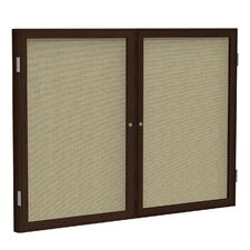 2 Door Wood Frame Enclosed Fabric Bulletin Board