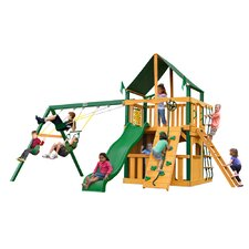 Chateau II Clubhouse with Timber Shield and Canopy Cedar Swing Set
