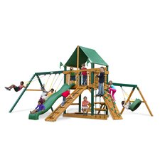 <strong>Gorilla Playsets</strong> Frontier Swing Set with Green Vinyl Canopy