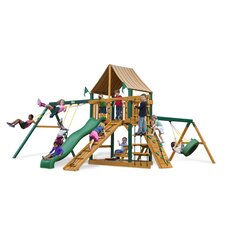 <strong>Gorilla Playsets</strong> Frontier Swing Set with Western Ginger Sunbrella