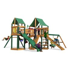 <strong>Gorilla Playsets</strong> Pioneer Peak Swing Set with Green Vinyl Canopy