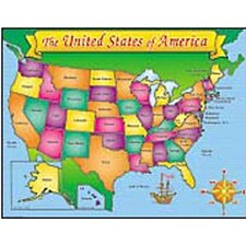 <strong>Teachers Friend</strong> Usa Map Friendly Chart 17x22