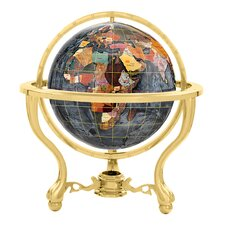"13"" Commander Black Opalite Globe with Three Leg Stand in Gold"