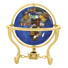 "<strong>Alexander Kalifano</strong> 13"" Commander Caribbean Globe with Three Leg Stand in Gold"