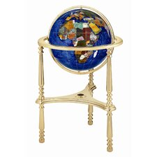 "13"" Ambassador Caribbean Globe with Three Leg High Stand in Gold"