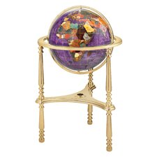 "<strong>Alexander Kalifano</strong> 17"" Ambassador Amethyst Globe with Three Leg High Stand in Gold"